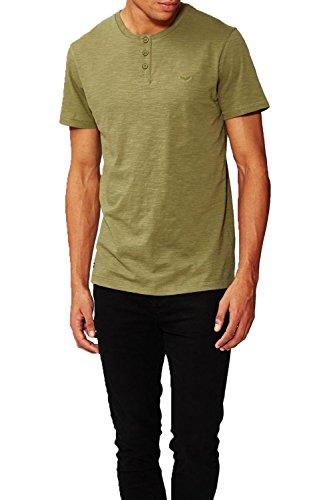Herren Threadbare Oliver Opa T-shirt Kragen Halsausschnitt Einfarbig T-shirt Top Khaki