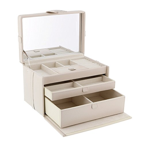 Dulwich Designs Naples Cream Leather Jewellery Box (L)