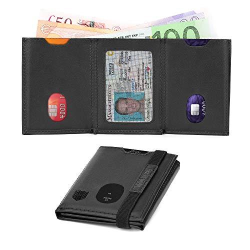 Portafoglio Uomo RFID con Portamonete, Portafoglio Uomo Piccolo Sottile, Trifold Portafoglio Uomo Slim Pelle, Tasca con Cerniera Monete, Porta Monete, Porta Banconote Tessere Tascabile, Regalo Uomo