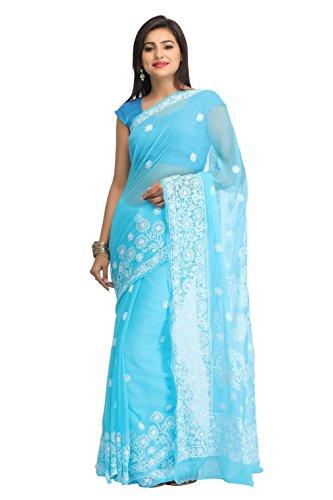 ADA Women's Faux Georgette Chikankari Ethnic Wear Saree (Blue) A129624