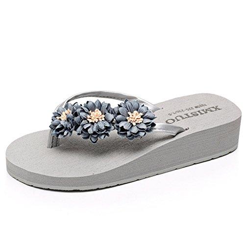 Eagsouni® Plateau Flip Flops Gänseblümchen Zehentrenner / Plattform Sandalen Sommer Strand Schuhe für Damen Mädchen Grau