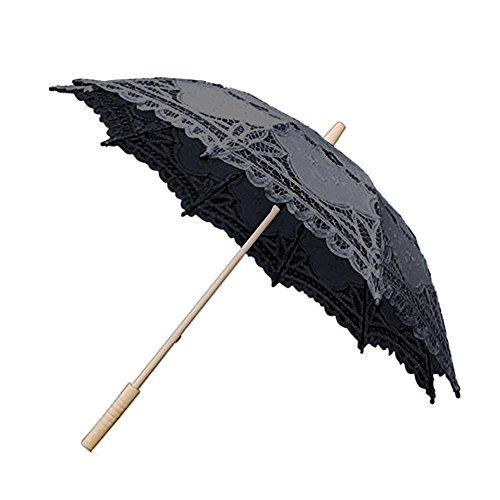 Jerome10Dan Brautjungfer-Braut-Regenschirm, europäischer Stil, mit Aussparung, handgefertigt, Spitzen-Sonnenschirm, Geschenk, Regenschirm Schwarz