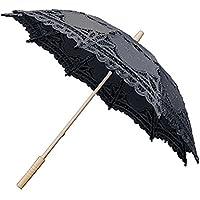 Starter,Paraguas de parasol de encaje negro hecho a mano,mango de barra de paraguas de tilo de alto grado,hecho a mano, algodón puro.