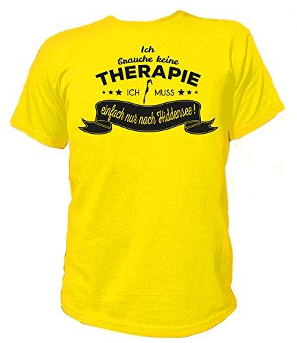 Artdiktat Herren T-Shirt Ich brauche keine Therapie - Ich muss einfach nur nach Hiddensee Gelb