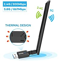ROTEK USB WiFi Dongle 1200Mbps, WiFi Adapter Dual Band 5G/867Mbps + 2.4G/300Mbps, USB 3.0 Wireless Network Adapter with 5dBi Antenna for PC/Desktop/Laptop, Support Windows XP/Vista/7/8/10, Mac OS