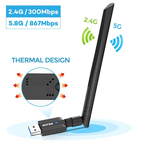 ROTEK WiFi Adapter, USB 3.0 WLAN Stick 1200Mbps, WLAN Adapter mit 5dBi Antenne für PC/Desktop/Laptop, WLAN Empfänger Dualband 5G/867Mbps+2.4G/300Mbps, WLAN Dongle für Windows XP/Vista/7/8/10 Mac OS