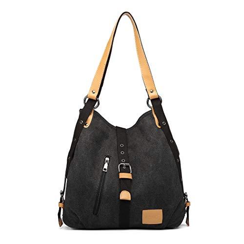 Kono Damen Canvas Handtasche Rucksack Frauen Schultertasche 3 in 1 Shopper Tasche Vintage Hobo Tasche für Arbeit Schule Reise (Schwarz)