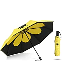 Paraguas Sombrilla Solar UV Femenina Doble Uso plástico Negro Plegable Tres Plegable QIQIDEDIAN (Color :