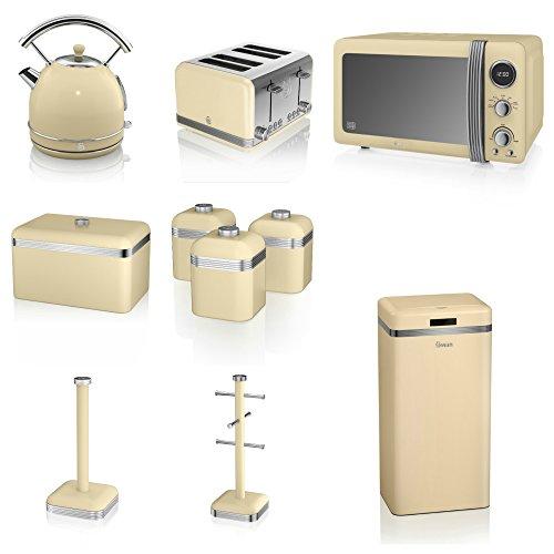 Swan Cream Kitchen Appliance Retro Set Of 10 - Retro Digital Microwave, 20 Litre, 800 Watt, 1.7 Litre Dome Kettle & Retro Stylish 4 Slice Toaster Retro Breadbin, 3 Canisters, Towel Pole, 6 Mug Tree And Sensor Rubbish Bin Set