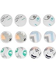 Démaquillant Lavable de Nettoyage Recyclable en Coton Imprimé pour éliminer les Cosmétiques, L'huile, la Saleté et le Portable pour les Sorties 12PCS