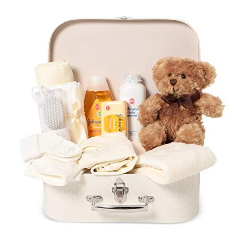 Baby Box Shop - Kit neonato per regalo nascita unisex e Baby Shower - Set bagno accessori completo in scatola dei ricordi - Set neonato accessori prima infanzia - Regalo neonato con orsetto