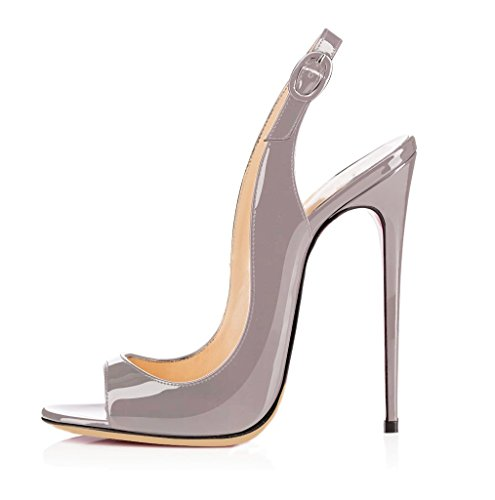 Slingback Heels (EDEFS Damen High Heel Sandaletten,Elegant Slingback Sandalen,Open Toe Schuhe,Grau EU39)