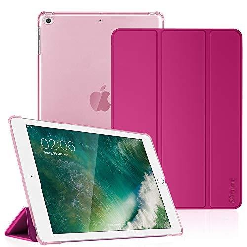 FINTIE Nuovo iPad 9.7 Pollici 2018 2017 Cover - Sottile Leggero Semi-Trasparente Custodia Smart Case con Auto Sveglia/Sonno Funzione per Apple New iPad 9,7 inch 2018 2017 Modello, Magenta