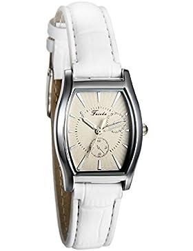 JewelryWe Damen Armbanduhr, Analog Quarz, Einfach Business Casual Leder Armband Uhr mit Quadrat Zifferblatt, Weiss