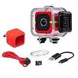 Polaroid Lifestyle Cube ACT TWO HD da 1080p azione impermeabile e grandangolo subacqueo. Pacchetto mini fotocamera sportiva. Colore: Rosso