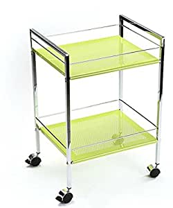 chariot 2 niveaux vert esth tique chariot desserte coiffure chariot m dical de rangement multi. Black Bedroom Furniture Sets. Home Design Ideas