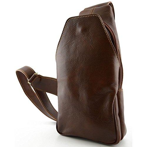 Dream Leather Bags Made in Italy Cuir Véritable Sac à Dos Monobretelle Avec Poche Frontale Couleur Brun - Maroquinerie Fait En Italie - Sac à Dos