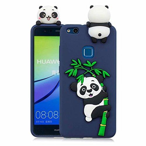 Huawei P10 Lite Fanxwu TPU 3D Silikon Cartoon Panda Fall Ultra Weich Schutzhülle Flexibel Schutz Rückenschale Anti-Kratzer Protective Handyhülle - Blau
