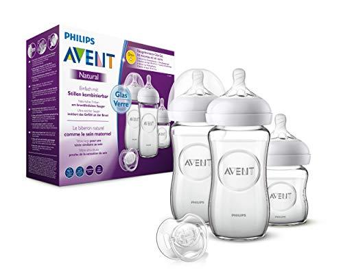 Philips Avent Natural Flaschenset SCD303/01, für Neugeborene aus Glas, transparent, 3 Flaschen und Schnuller, 120 und 240ml