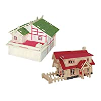P Prettyia 2 Set 3D Puzzle Toy - House Model - Building Games