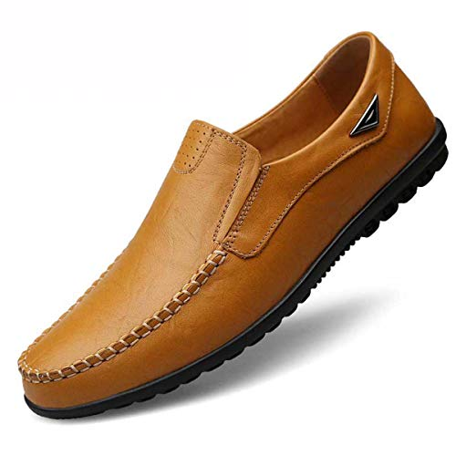 Summer Leather Shoes Men Loafers Breathable Shoes Shallow Casual Shoes Moccasins Comfortable Flats Slip On Zapatos De Hombre Yellow Brown 10 -