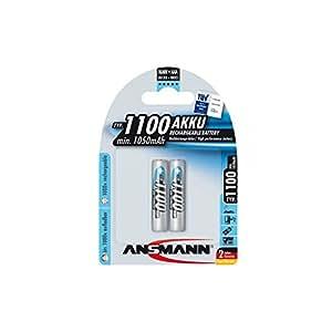 ANSMANN Micro AAA Akku Testsieger (Vergleich.org 06/2016) Typ 1100mAh NiMH hochkapazitiv Profi Digital Kamera-Akkubatterie (2er Pack)