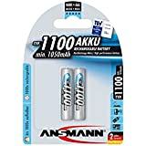 ANSMANN wiederaufladbar Akku Batterie Micro AAA Typ 1100mAh NiMH hochkapazitiv Hohe Kapazität ohne Memory-Effekt Profi Digital Kamera-Akkubatterie 2er Pack