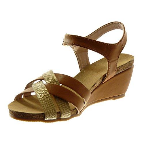 Zapatos De Angkorly Sandalias De Mulas De Moda Con Correa De Tobillo Mujer Cuña De Culebra De Mordiente De Múltiples Funciones Brida De Tacón De Cuña 7cm Camel