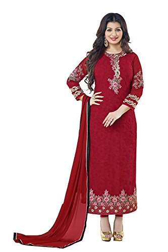 Straight Cut Style Maroon Color with Crystals Stones Work Incredible Unstitched Salwar...