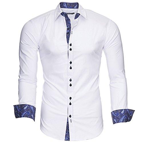 Kayhan uomo camicia, royal paisley white/blue(l)