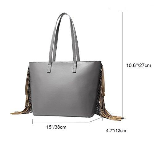 Vbiger Borse Tote alla moda Borsa a tracolla nappa Borsa in pelle PU per donne(Argento) Argento