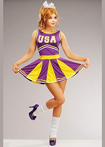 8in1 Purpurrotes und gelbes USA Cheerleader Kostüm der Frauen Medium (UK 10-12)