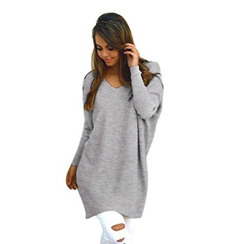 Donna Casuale Maniche Lunghe Camicetta Vestito Autunno Solid Sciolto V-collo Knitted Felpa Pullover Grigio