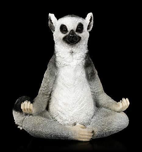 Figuren Shop GmbH Witzige Gartenfigur - Lemur Macht Yoga | Tier-Figur, handbemalt