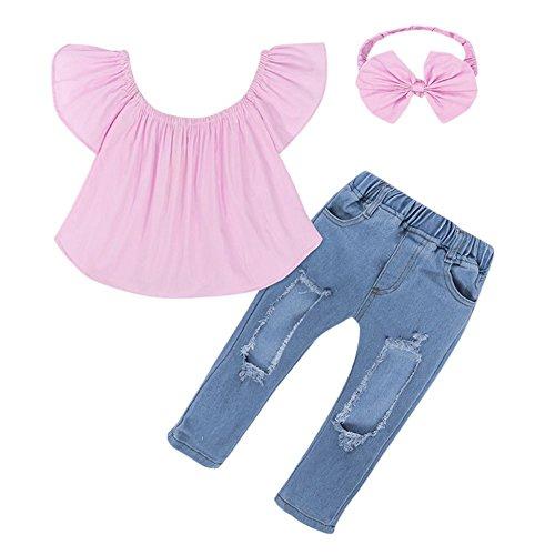 Kinder Mädchen Schulterfrei Crop Tops + Loch Jeans Jean Stirnband 3ST Kleinkind Kinder von Bornbayb (Modische Tanzbekleidung)