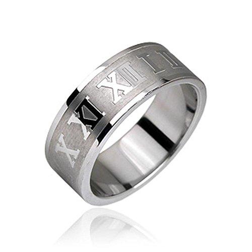 Bungsa 60 (19.1) Römische Nummern Ring Edelstahl Silber gebürstet I II III IV V VI VII VIII IX X XI XII für Damen & Herren 49-72 (Fingerring Modering Schmuck Partnerringe Verlobungsringe Trauringe)