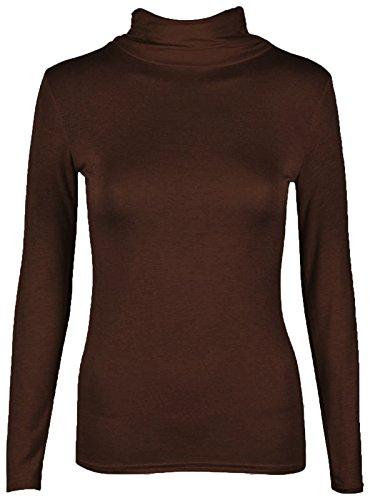 Rollkragen Damen Rolli Long Sleeve Stretch Shirt/Top, Gr. 8-22 Schokoladenbraun