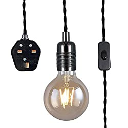 Black Pendant Light Fitting with Plug-in, Vintage Style Hanging Light KIT E27 Lamp Holder,4500MM Braided Twisted Cable with On/of Switch-KIT04BPG