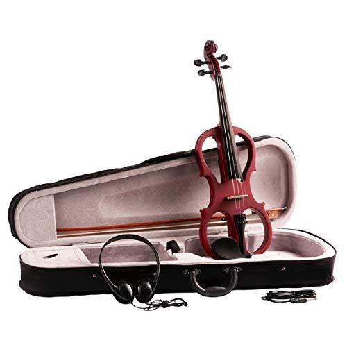 Artall 4/4 4/4 4/4 Violinen-Set für Studenten, mit Hartschalenkoffer, Boge, Kolophonium und Kinnhalter, Kopfhörer, Audiokabel und Brücke, Style X Rot