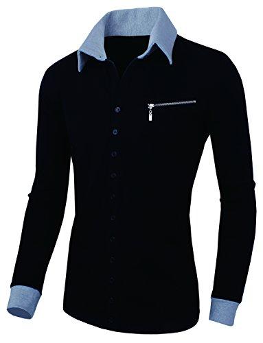 HRYfashion veste en maille pour homme couleurs tendance avec rangée de boutons Noir - Noir