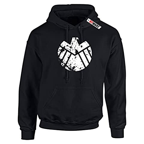 Distressed SHIELD Logo Hoodie Hooded Sweater (Black)(White Print)(Size: Large 41-43