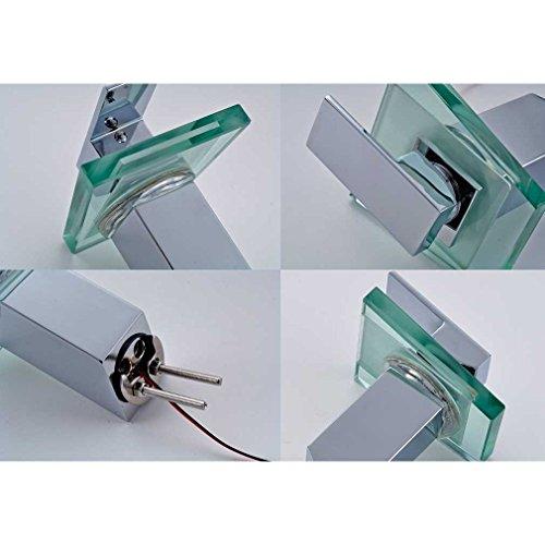 Auralum® Elegant LED RGB Glass Wasserhahn Armatur Chrom Wasserfall Waschtisch Waschtischarmatur für Bad Badezimmer Küchen 3 Farben - 4