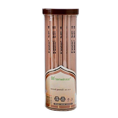 Zhi Jin 50Natur Holz Bleistift Set Sechseck graphit HB 2B Bleistifte für Schule Erwachsene Zeichnen mit Box HB (Natur-holz-bleistift)