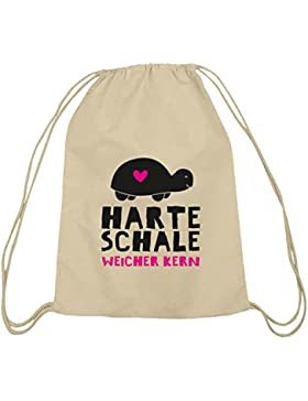 Shirtstreet24, Harte Schale weicher Kern, Baumwoll natur Turnbeutel Rucksack Sport Beutel