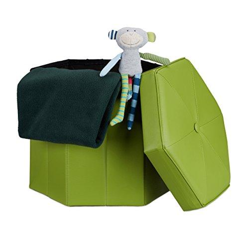 Relaxdays Faltbarer Sitzhocker sechseckig mit Stauraum und Deckel zum Abnehmen HBT: 38 x 42 x 42 cm Sitzwürfel aus Kunstleder Hocker zum Falten und Verstauen Sitzbank und Sitzgelegenheit, grün