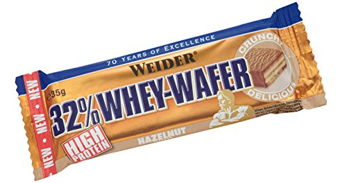 Protein Wafer (Weider Whey Wafer Bar, Haselnuss, 24 x 35 g (1 x 840 g))