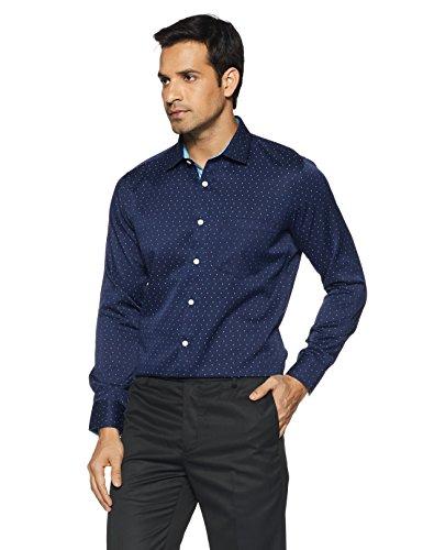 Amazon Brand - Symbol Men's Slim Fit Formal Shirt (AW17MFS113!_40!_Navy)