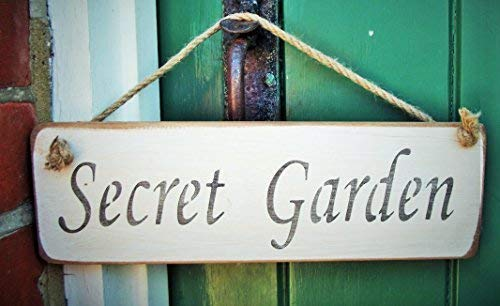 Monsety Secret Garden - Placa Decorativa de Madera Maciza para Colgar en...