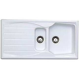 Astracast Sierra 1.5 Bowl Reversible Teflite Kitchen Sink in White | Waste Kit
