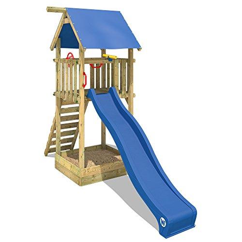 WICKEY Kletterturm Smart Tower Spielturm Holzspielgerät mit Rutsche Sandkasten und Kletterleiter
